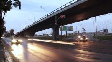 City traffic road junction — Stock Video