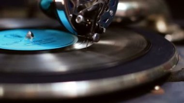 Phonograph close-up — Stockvideo