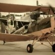 Vintage biplane on ground — Stock Video