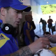 Football player at autograph session — Stock Video