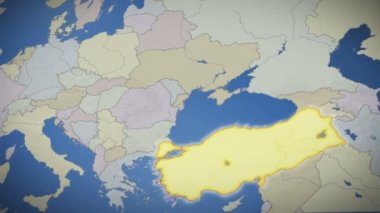 Turkey on map of Europe — Stock Video