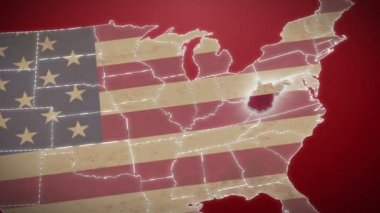 West Virginia on USA map — Stock Video