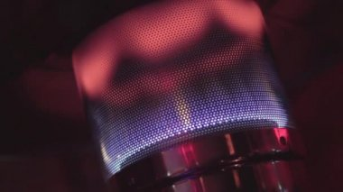 Gas heater in a rooftop bar — Stock Video