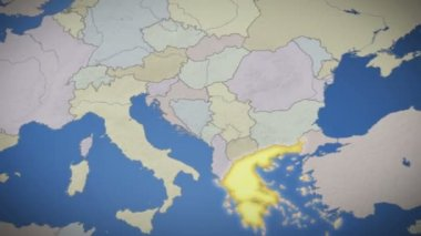 Greece on map of Europe — Stock Video