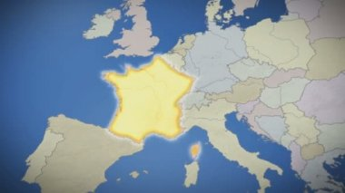 France on map of Europe — Stock Video