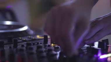Close-up of female dj hands — Stock Video