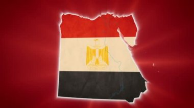 Egypt map with Egyptian flag — Stock Video