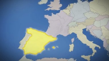 Spain on map of Europe — Stock Video