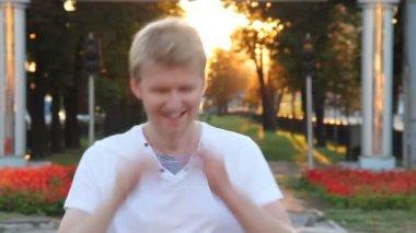 Man confident smiling standing — 图库视频影像