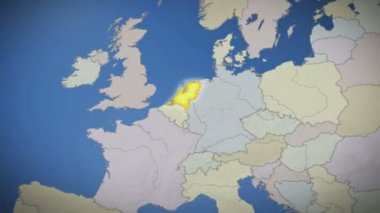 Netherlands on map of Europe — Stock Video