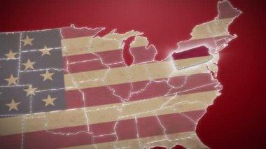 Pennsylvania on USA map — Stockvideo