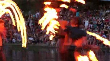 Fire show performance — Stock Video