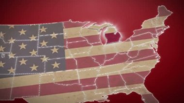 Michigan on USA map — Stock Video
