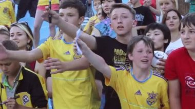 Young football fans shout — Stock Video