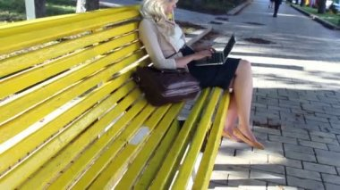Woman typing in park with laptop — Stock Video