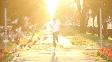 Happy running male — Stock Video
