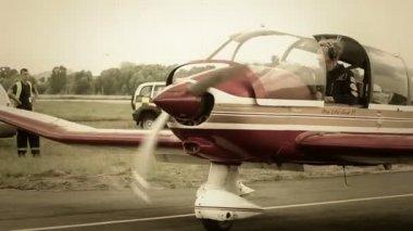 Steering war airplane — Stock Video