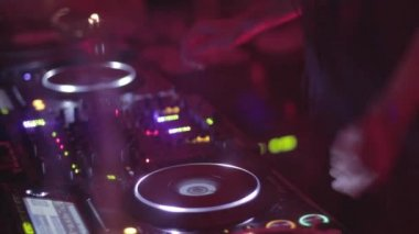 Hands of female Dj playing the set performing — Stock Video
