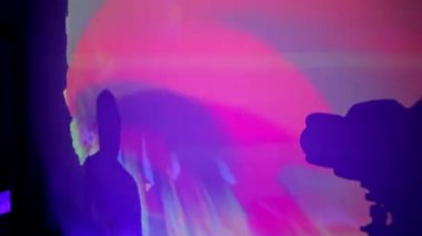 Young female DJ silhouette on the wall in night club party — Stock Video
