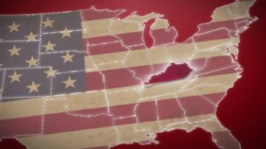 Kentucky on USA map — Stock Video