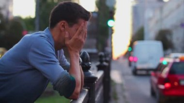 Headache depression by young male — Stock Video
