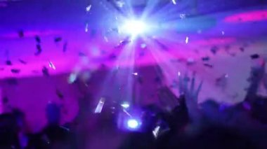 Confetti flying upon the dance floor — Stock Video