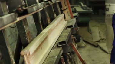 Wood form pressing — Stockvideo