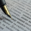 Writing elite pen macro on white A4 document signing contract — Foto Stock