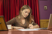Business woman director manager writing notes signs papers — Stock Photo