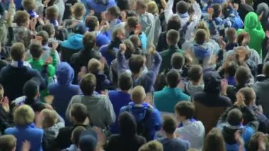 Supporters in fan sector shout — Stock Video