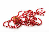 Gift Box and Beadwork in Red — Stock Photo