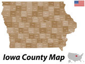 Iowa County map — Stock Vector