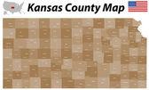 Kansas County Map — Stock Vector