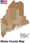 Maine County Map — Stock Vector