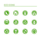 Round Eco Icons — Vettoriale Stock