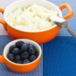 Bowl with cottage-cheese and berries — Stock Photo