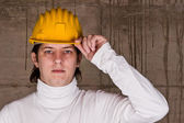 Worker with yellow helmet — Foto Stock