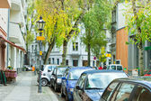 Quite city street with parked cars, Berlin — ストック写真