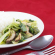 Stock Photo: Stir-fried brassicvegetariwith spoon and fork