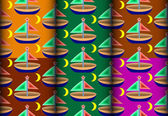 Sailboat colorful pattern — Stok Vektör