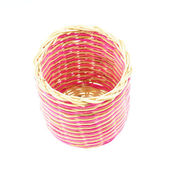 Pink wicker basket isolated — Stock Photo