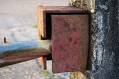 Close up old boundary gate lock for security — Stock Photo