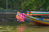 Colorful long tailed boat in Chaopraya river Thailand — Stock Photo