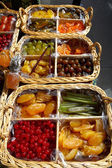 Basket of candied fruits — Stock Photo