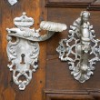 Old handles on an oak door — Stock Photo