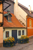 Ancient Prague houses with a stone blocks — Stock Photo