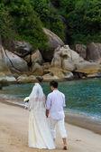 Pareja de casados cogidos de la mano — Foto de Stock