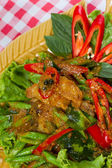 Stir fried fish and curry paste — Stock Photo