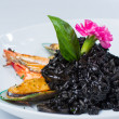 Stock Photo: Black risotto seafood