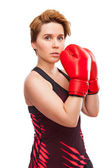 Sport young woman boxing gloves, face of fitness girl studio isolated on white — Foto Stock